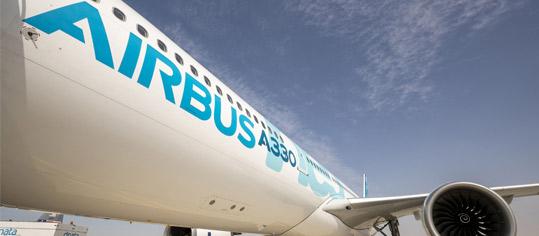 Airbusflugzeug auf dem Rollfeld