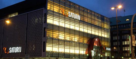 Außenaufnahme eines Saturn-Shops.