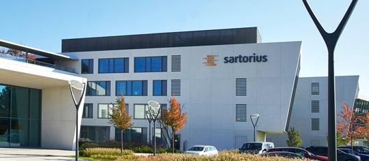 Außenaufnahme des Firmengebäudes von Sartorius