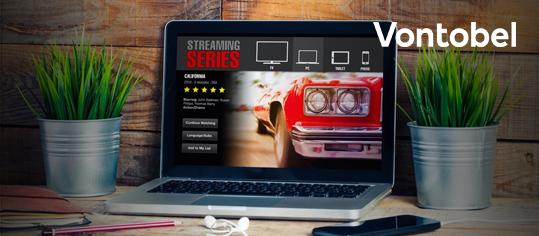 Laptop auf einem Schreibtisch mit offener Streaming-Series-Webseite