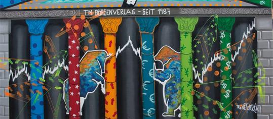 Börsengraffiti von Rene Turek beim Rosenheimer Börsenmuseum.