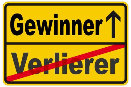 Schild mit Aufdruck Gewinner/Verlierer